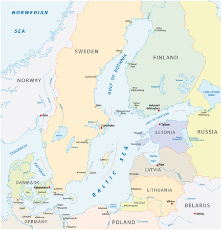 the detailed baltic sea area vector map.