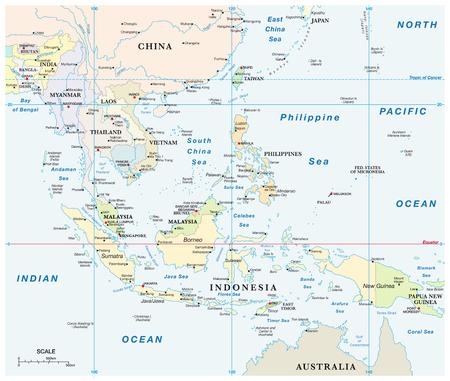 Carte vectorielle de l'Asie du Sud-Est avec coordonnées et échelle. Vecteurs
