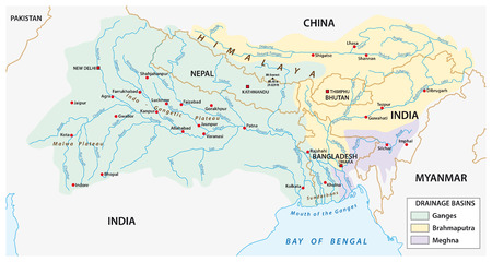 vector Map of the combined catchment areas of the Ganges, Brahmaputra and Meghna rivers. Иллюстрация