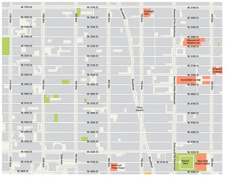 New York City, Theater District, Midtown Manhattan vector kaart. Stockfoto - 108382550