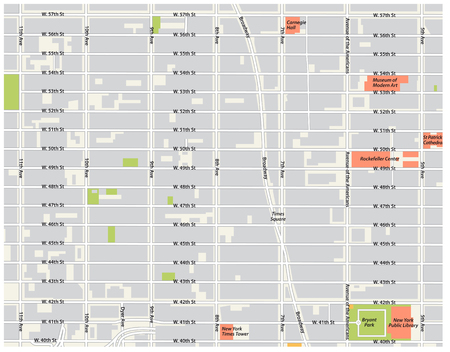 new york city, theater district, midtown manhattan vector map.