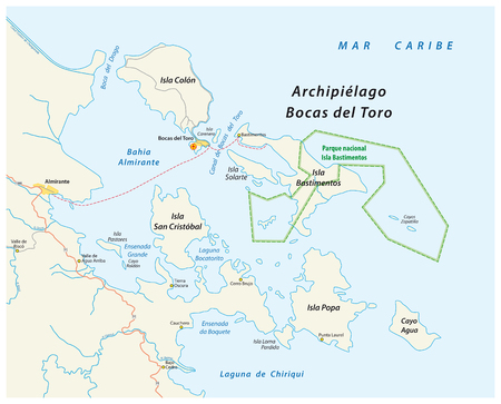 Map of the Panamanian island group of Bocas del Toro, Panama. Ilustração