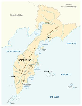 vector map of the russian far east region Kamchatka.