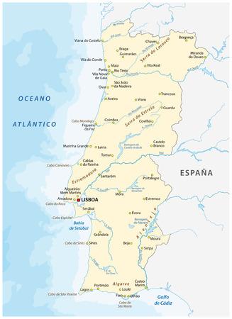Carte vectorielle du Portugal avec les principales villes et rivières. Vecteurs