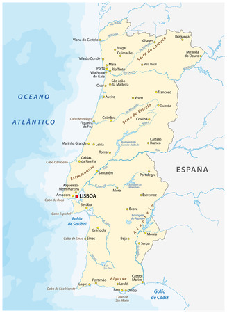 Portugal vector map with major cities and rivers. Vektorové ilustrace