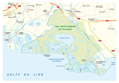 Map of the Southern French Regional Natural Park Camargue, France.