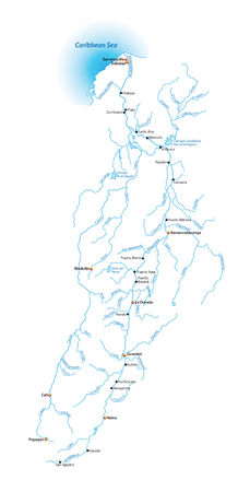 Map of the Magdalena River, longest river in Colombia Illustration