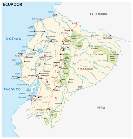 The republic of Ecuador road and national park vector map.