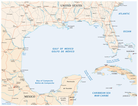 gulf of mexico road vector map.