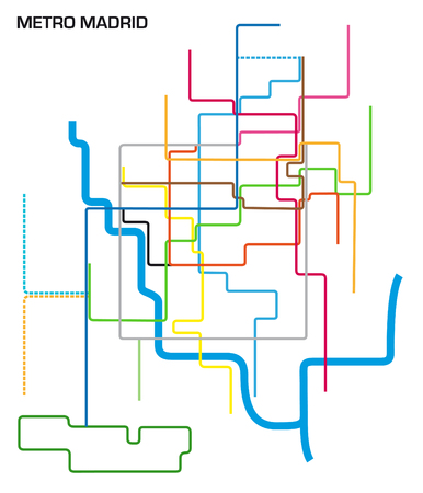 Vector illustration of the Madrid metro map.