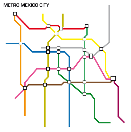 Vector illustration of the mexico city metro map.