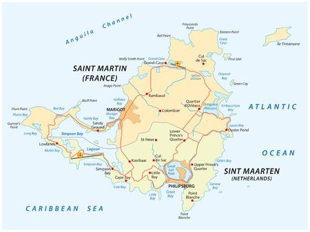 Straßenvektorkarte von Sint Marteen-Sint Maarten. Vektorgrafik
