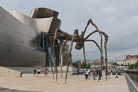 view of The Guggenheim Museum in Bilbao, Biscay, Basque Country, Spain.
