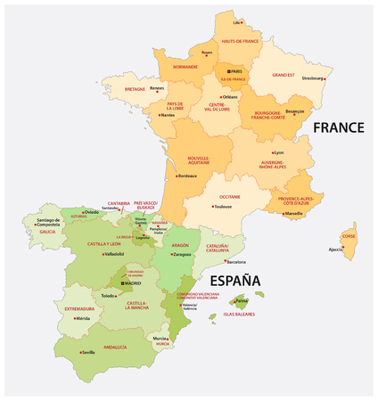 administrative and political map of spain and france in the respective national language.