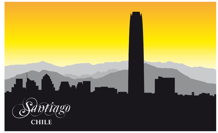 skyline vector silhouette of the chilean capital Santiago.