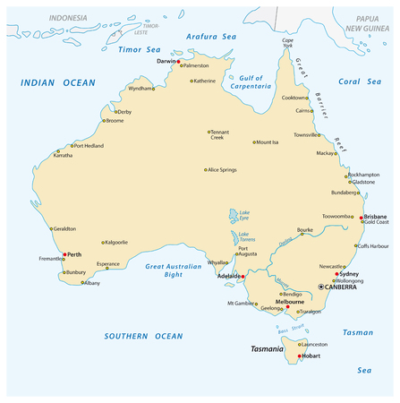 a simple vector outline map of australia.
