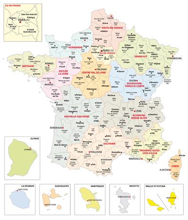 Verwaltungskarte der 13 Regionen Frankreichs und Überseegebiete Vektorgrafik