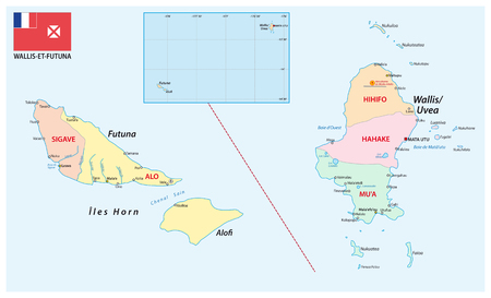 Road map of the French overseas territory of Wallis and Futuna Illustration