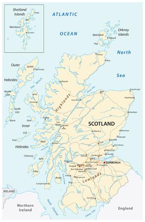 Alta hoja de ruta detallada de Escocia con etiquetado Ilustración de vector
