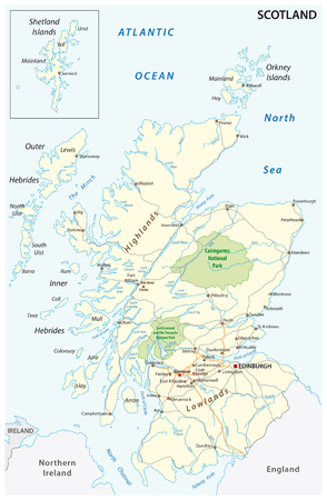 High detailed Scotland road and nationalpark map with labeling Vettoriali