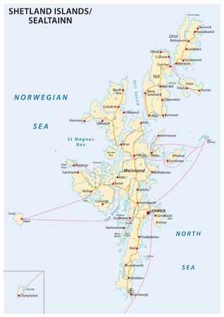 Mapa de carreteras de las islas Shetland, Escocia, Reino Unido