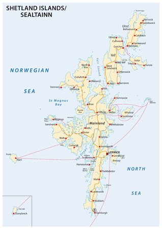 shetland islands road map, Scotland, United Kingdom