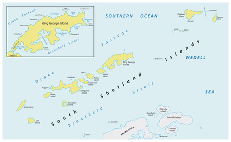 Map of the sub-Antarctic archipelago Southern Shetland Islands in the Southern Ocean
