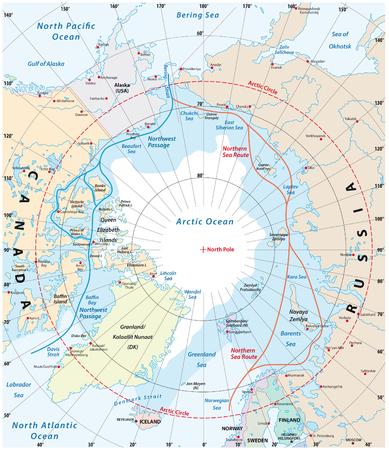 Carte de la région arctique, du passage du nord-ouest et de la route maritime du nord