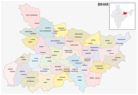 administrative and political map of indian state of bihar, india Illustration