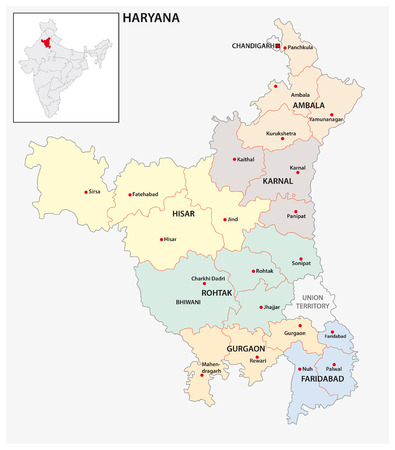 administrative and political map of indian state of Haryana, india