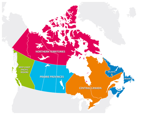 Outline map of the five Canadian regions