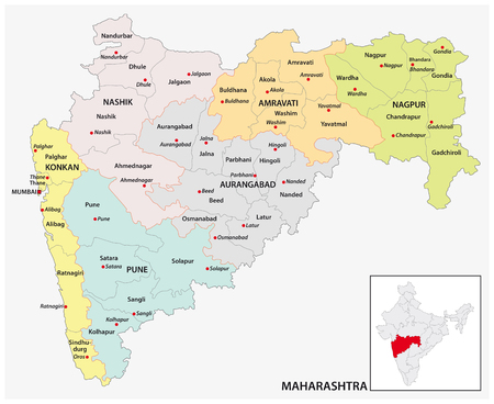 administrative and political map of indian state of Maharashtra, india