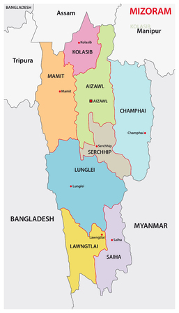 Mizoram (North Eastern Region) administrative and political vector map