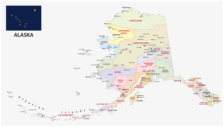 Alaska politica e amministrativa mappa con bandiera with Vettoriali