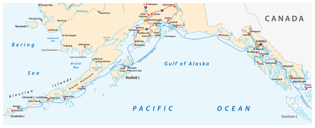 Map of the Alaska Marine Highway System, ferry, United States