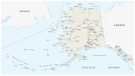 Carte routière vectorielle de l'état nord-américain de l'Alaska, États-Unis d'Amérique