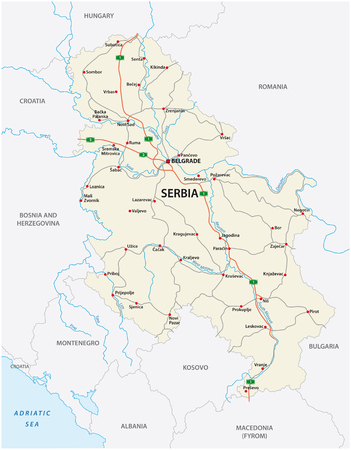detailed Serbia road vector map with labeling