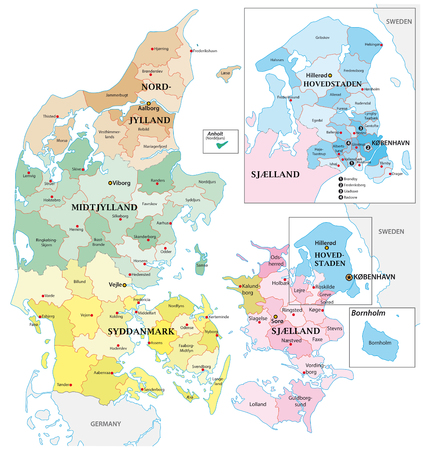 Administrative and political vector outline map of the Kingdom of Denmark