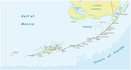 mappa vettoriale dettagliata della strada e del viaggio delle chiavi della florida