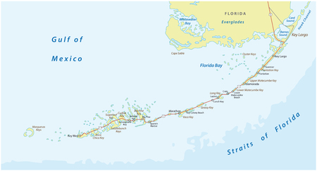 detaild florida keys road and travel vector map Illustration