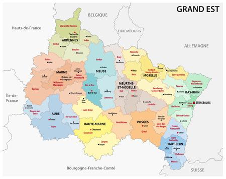 mapa administrativo de la nueva región francesa grand est