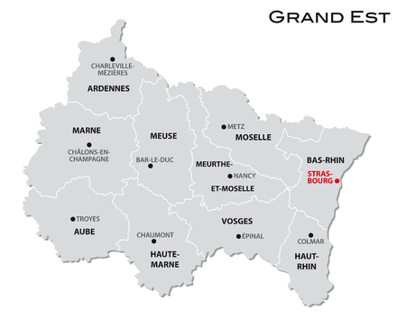 simple gray administrative map of the new french region Grand Est