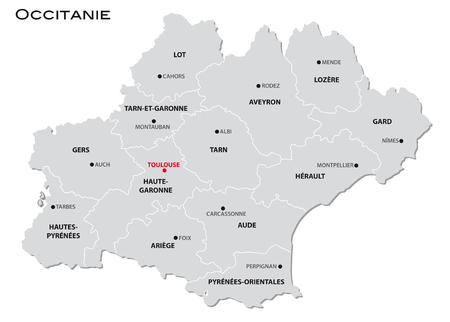 simple gray administrative map of the new french region Occitanie Stock Illustratie