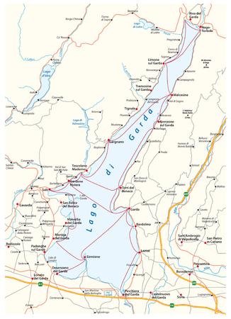 map of the upper Italian Lake Garda, Italy