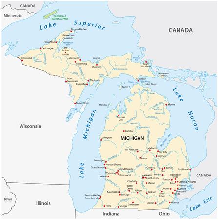 Mapa de vectores del estado estadounidense de Michigan
