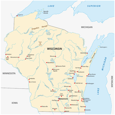 Vector Map of the U.S. state of Wisconsin