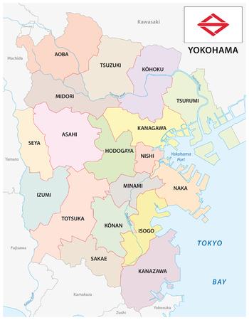 yokohama administrative and political vector map with flag