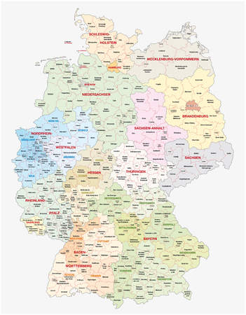 administrative and political vector map of Germany, newly revised 2019