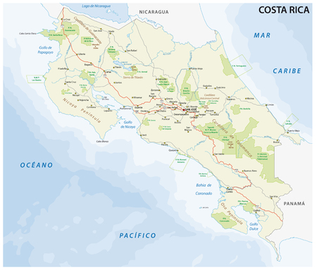 costa rica road and nationalpark vector map