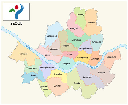 seoul administrative and political vector map with flag Vector Illustration